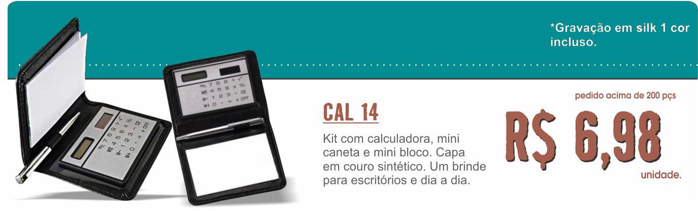 Promoção Kit com calculadora, mini caneta e mini bloco de anotações - R$ 6,98 unidade - Absoluty Brindes Corporativos